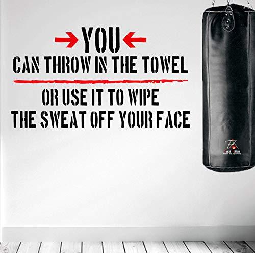 DesignDivil. Je kunt de handdoek erin gooien. Fitness en Motivational Wall Art Decal.
