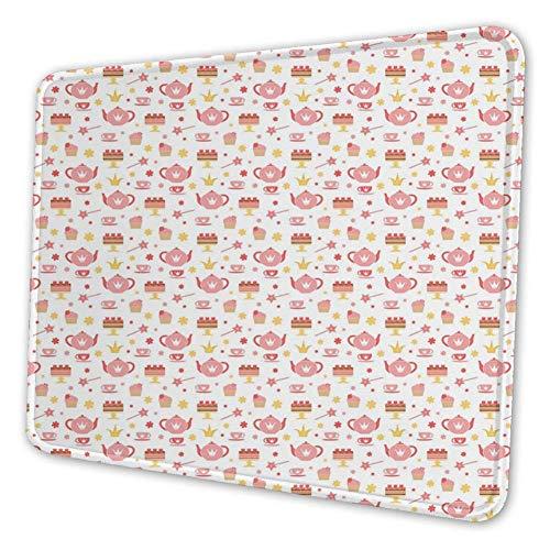 Rechthoekige Mousemat Mousepad, Taarten Bloemen Magische Wands Theepot en Beker Kroon Patroon Afbeelding