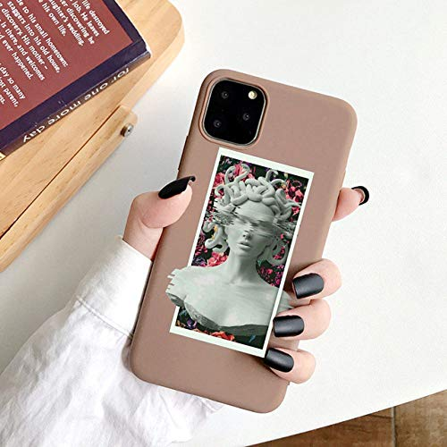 WGOUT para iPhone 11 Pro MAX Funda Mona Lisa Soft TPU Funda para teléfono para iPhone 12 Mini SE 2020 6s 7 8 Plus XR XS, Coffee 03, para iPhone 12 Pro