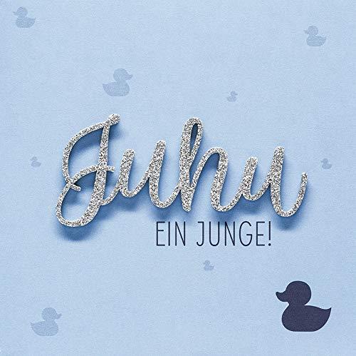 Karte zur Geburt Lettering - Juhu ein Junge! - 15 x 15 cm