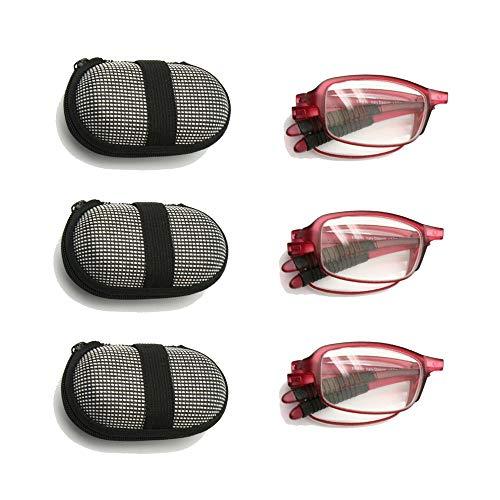 3 Paar Pack Mini Opvouwbare Leesbril Met Etui, 1.0 tot +3.5 Mannen Vrouwen Opvouwbare Presbyopie Hyperopie Pocketlezer