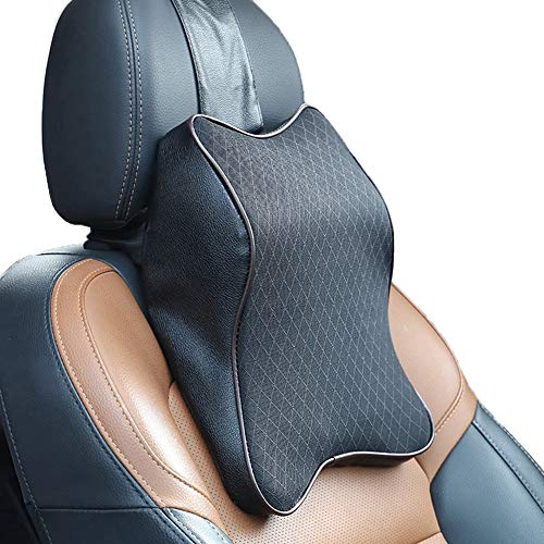 WAQIA HOME Car Seat Headrest Neck Rest Cushion, Durable Memory Foam Car Neck Pillow with Breathable Removable Cover, Comfortable Neck Pain Relief, Perfect Soft for Driver Passenger Seat (2pcs, Black) Mississippi
