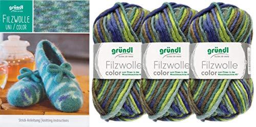 3x50 Gramm Gründl Filzwolle Color Wolle SB-Pack Wollset inkl. Anleitung für gestreifte Filzhausschuhe mit 2 Strasssteine zum aufnähen (22 Grün Mix)