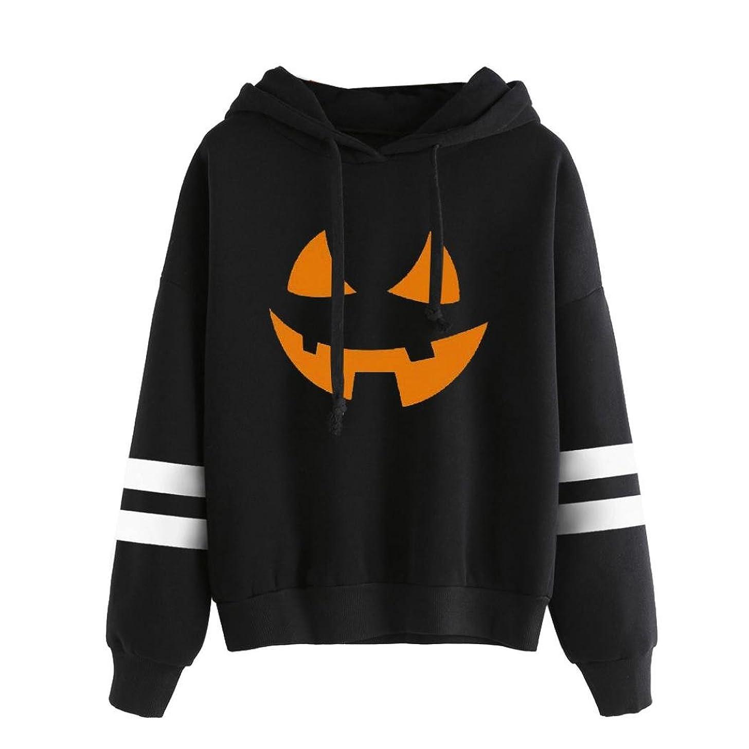 Keepfit Women Halloween Pumpkin Hoodie Sweatshirt Jumper Crewneck Pullover Tops Blouse