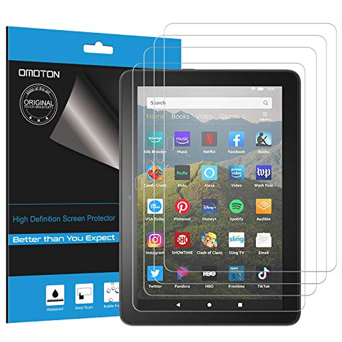 OMOTON [4-Pack] Screen Protector for All-New Fire HD 8/ Fire HD 8 Plus/Fire HD 8 Kids (10th Generation, 2020 Release), High Definition Film