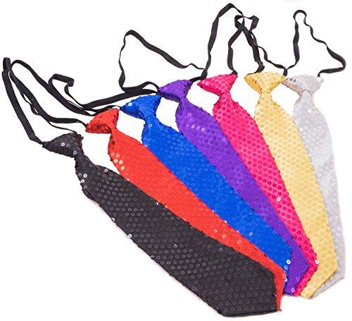 Trendario | Pailletten Krawatte für Karneval, Fasching, JGA | Pailetten Krawatte in verschiedenen Farben (Blau)