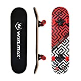 WIN.MAX Skateboard,Completo Double Kick Concave Bambino e Adulto, 4 Cuscinetti ABEC-7 Idea...