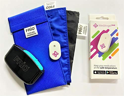 FRIO DOPPEL BLAU mit Inner Tasche, MEDANGEL SENSOR und MySharps Nadeln Behälter