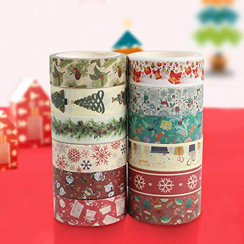 Christmas Washi Tape Set, 12Rolls Merry Christmas Masking Tape Decorative Duct Tape for Xmas Decorations Christmas Party Favors Supplies, 0.6' x 23ft