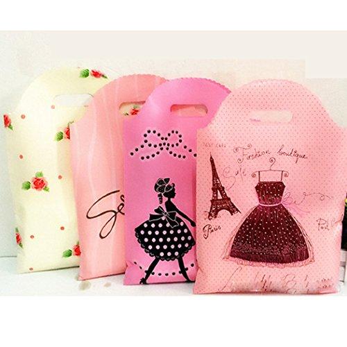 Mishiner 50 Pcs Épaissi en plastique Sacs de marchandises au détail avec Die Cut Poignées, sacs à provisions, 25x40cm