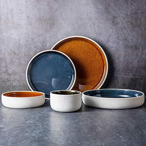 5-delige serviessets voor 1 persoon, dikkere serviessets, porseleinen borden en schalen, interieur en oppervlak in mat en helder, voor thuis en in de keuken
