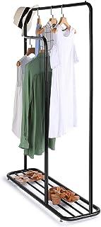 Cozzine ハンガーラック ダブル 耐荷重80kg 防サビ 防水 耐腐食性 洋服ラック 幅80~108×奥行30×高さ122~150cm スタイルハンガー 衣類整理 組立簡単 ブラック
