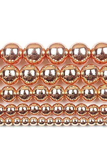 Cuentas de piedra natural de oro rosa de hematita para hacer joyas de 2/3/4/6/8/10/12 mm, cuentas sueltas redondas de oro rosa de 3 mm aprox. 120 cuentas