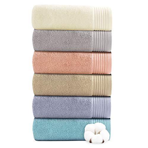 Juego de 6 toallas de mano para baño, 100% algodón puro, absorbentes, ultrasuave, gruesas, lujosas, para el cuerpo, invitados, peluquería, 1 (40 x 70 cm)