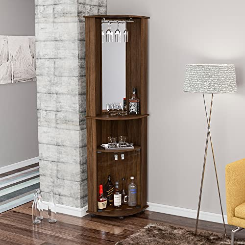 Boahaus Corner Bar, 2 Glass Door, Mirrowed Wall, Glass Rack