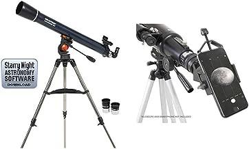Celestron 21063 AstroMaster 90 AZ Refractor Telescope with Celestron 81035 Basic Smartphone Adapter 1.25