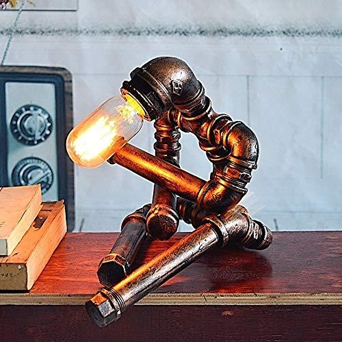 Vintage ijzeren waterpijp tafel nachtlicht rustiek licht van metaal bedlampje bureaulamp antiek loft LED Edison kantoor lamp industriële Steampunk retro bed woonkamer kantoor licht