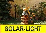 Große Windmühle, wetterfest,robust mit Bitumen, MIT WINDFAHNE Windrad-Seitenruder, dreistöckig, WMBR-K160bl-MS,Windmühlen mit Licht, Windmühlen Garten, mit Solarbeleuchtung, MIT SOLAR, für Außen 1,