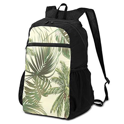 Mochila de viaje para senderismo elegante, elegante, con hojas tropicales, hojas de monstera, vintage, para viajes, para mujer, ligera, impermeable, para hombres y mujeres