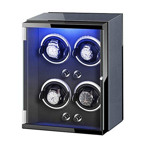 ZCYXQR Caja enrolladora de Reloj 4 Adaptador de CA automático para enrollar Reloj y Luces de Colores alimentadas por batería Almohadas Ajustables para Reloj (Color: A)