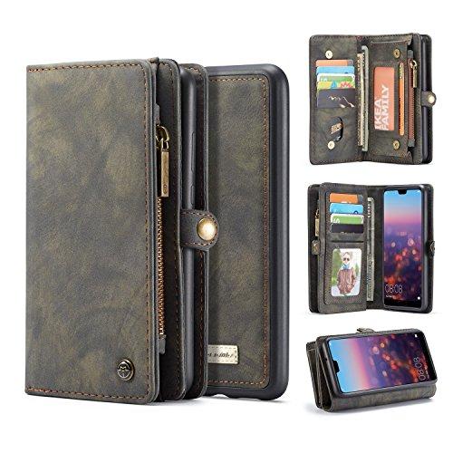 Mantenimiento For Huawei P20 caso, dos en Uno-Multi-funcional hechos a mano del Monedero de cuero del caso con la tarjeta de crédito y las ranuras de la cubierta desmontable, de primera calidad de la