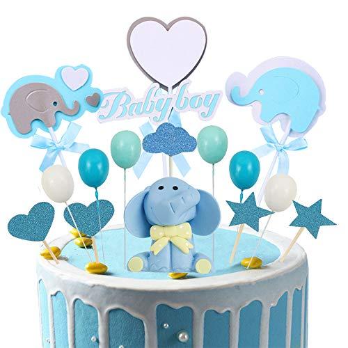 witgift 41 Stücke Tortendeko Babyparty, Junge Elefante Baby Boy Luftballon Sterne Kuchen Tortendeko,Geburtstag Cupcake Tortenstecker für Baby Shower Kindergeburtstag Kuchendeckel Topper
