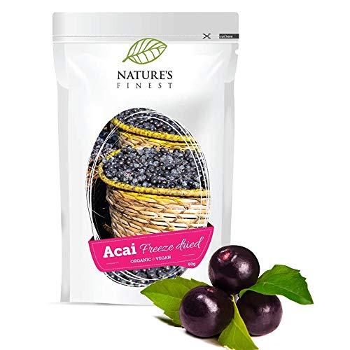 Nature's Finest Bayas de Açai en polvo Bio 60g | Superalimento rico en antioxidantes | Liofilizado...
