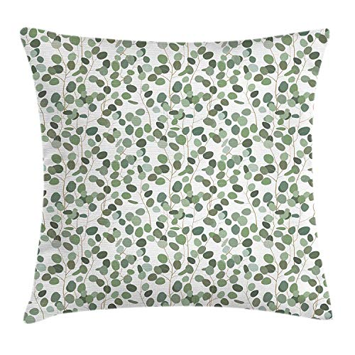 YATTYUG Eucalyptus Throw Pillow Cushion Cover, Botanical Exotic Foliage Pattern Flourishing Spring Branch, Decorative Square Accent Pillow Case, Pale Green Grey Green White 16X16 Inches