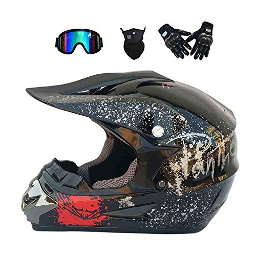 Full Face & BMX Helmen, Motorcycle Mountain Bike Modular Helmet with Goggles Gloves, Lightweight Motocross ATV Road Crash Helmet Protective Gear, D.O.T Certified (Black,M)