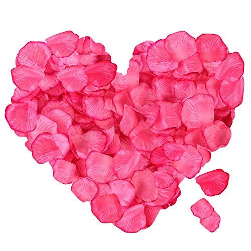 ASANMU 3000 Stück Rosenblätter Rosa, Rosenblüten Rosa Rosen Blätter Blüten Kunstblumen Seidenblumen für Hochzeit Deko, Valentinstag, Taufe, Geburtstag Party Dekoration Romantische Atmosphäre (Rosa)