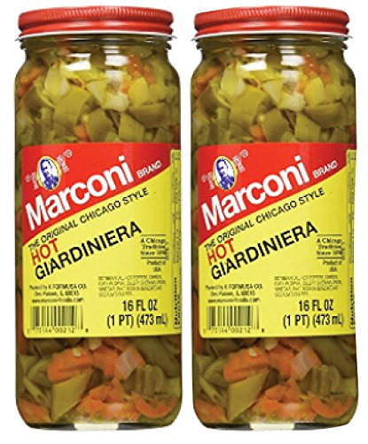 Marconi - The Original Chicago Style Hot Giardiniera - 16 oz (2 Pack)