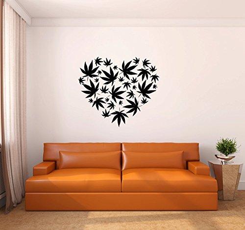 pegatinas de pared harry potter Marihuana Pot Leaf Heart para sala de estar o dormitorio.