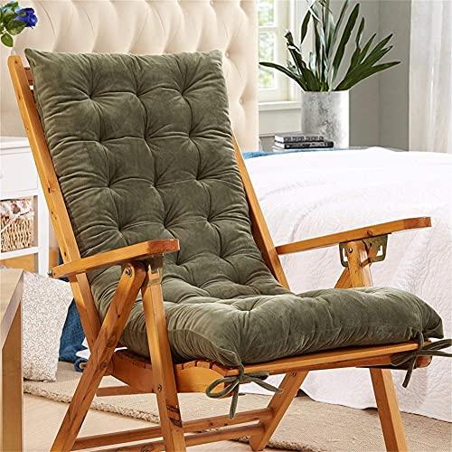 erddcbb Thicken Cojín para sillón con Lazos, Antideslizante Cojín reclinable Acogedor Cojín para Tumbona Cojines para sillas de jardín Cojines de Asiento-Verde 150x48cm (59x18in)