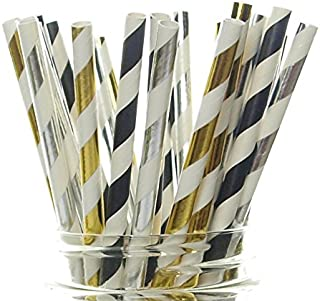 New Year's Eve Supplies, Black, Gold & Silver Party Straws - 25 Pack - New Year Party Supplies, Paper Drinking Straws, Ball Drop Countdown to 2017 New Year Party Decorations