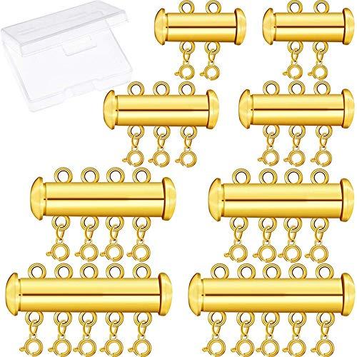 Dasing 8 StüCk 4 Gr??En Slide Clasp Lock Halskette Multi Strands Slide Tube VerschlüSse mit Aufbewahrungsbox für Layered Bracelet Halskette Schmuck Handwerk Gold