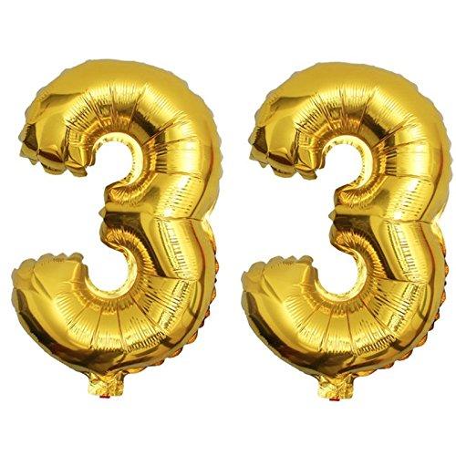 DekoRex® 33 als Folienballon Luftballon Zahlenballon Jahrestag Geburtstag in Gold 80cm hoch