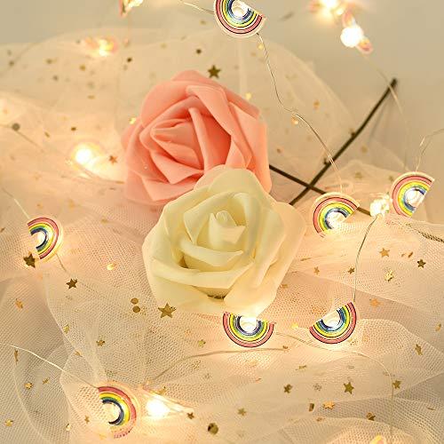 Lichterkette 2M 20 LEDs Regenbogen Girlande Kindlich Lichterkette Batterie(3AA) with Warmes Licht Dekoration Lichterkette für Zimmer, Vorhang, Weihnachts, Party, Garten (Regenbogen)