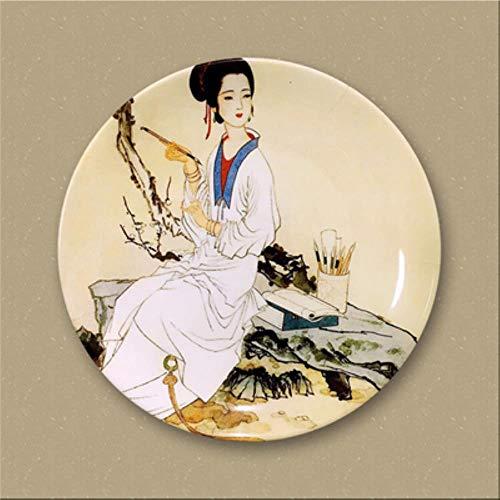 Chinese stijl klassieke dames Decor schotel keramische plaat opknoping plaat decoratie Chinese creatieve huis woonkamer ambachten M3074, chocolade