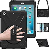 BRAECN iPad Mini Case [iPad Mini 3 Case][iPad Mini 2 Case] Full Body [Shock Proof for Kids Case] -360 Degrees Swivel Stand and Hand Grip Strap/a Shoulder Strap for ipad Mini case for Kids Black