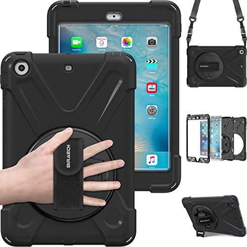 BRAECN iPad Mini Case iPad Mini 2 Case iPad Mini 3 Case, Heavy Duty Rugged Shock-proof Drop Protection Case Cover with 360 Degree Rotating Kickstand/Hand Grip/Shoulder Strap for Kids, Students Black