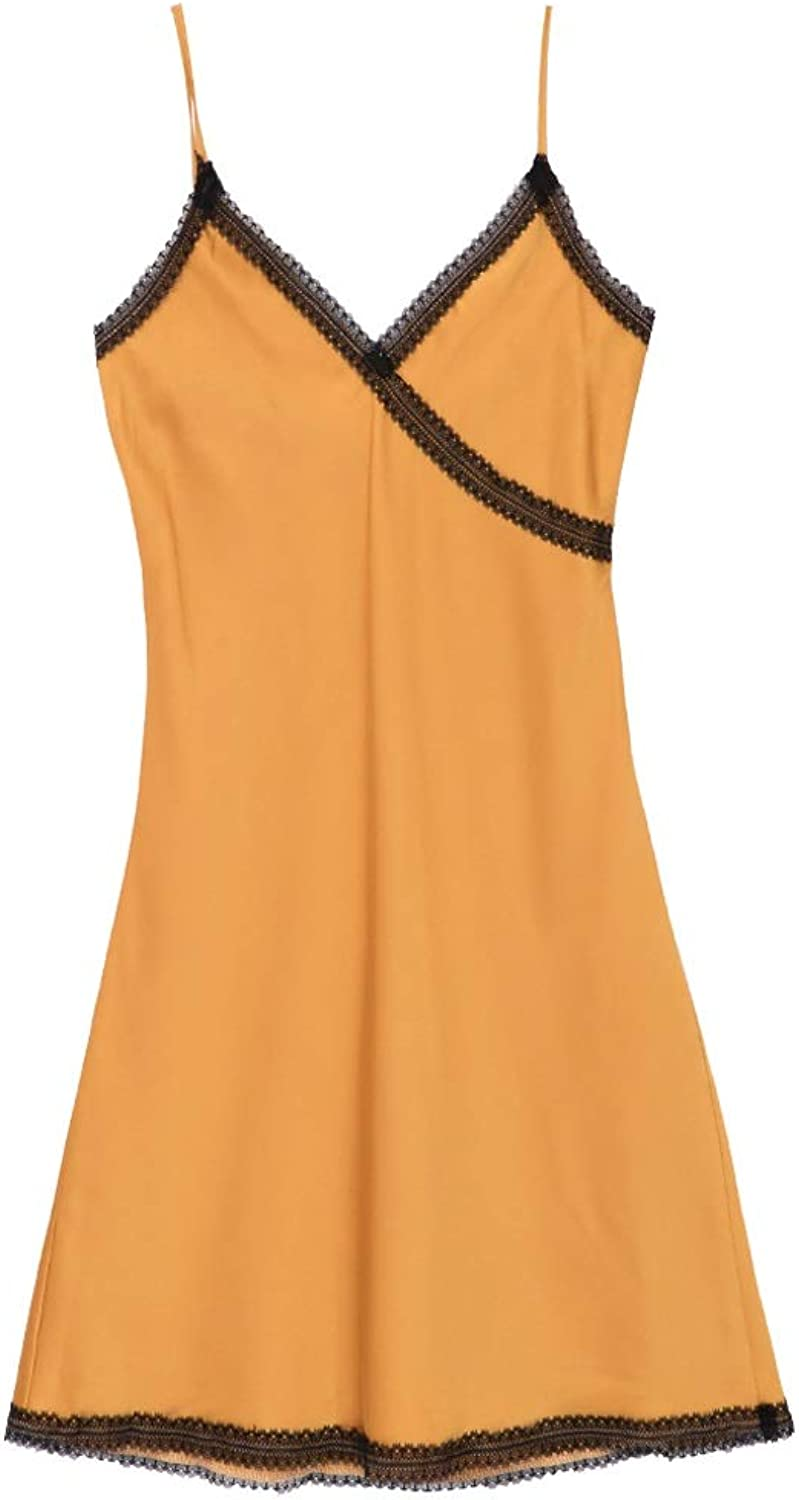 Home Service Female Sexy Lace Home Service Sling Thin Yellow Nightdress (color   Yellow, Size   M)