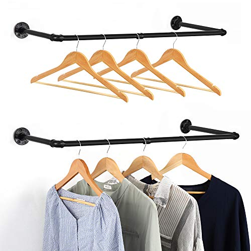 Industrial Pipe Clothing Rack Set of 2 Wall Mounted Vintage Garment Rack Clothes Hanger Rack MultiPurpose Clothes Rod for Clothing Storage Black