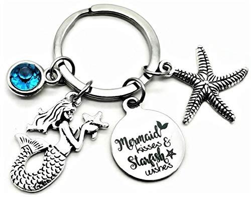 Mermaid Keychain Starfish Keychain Sea Ocean Seashells Sky Blue Rhinestone Charm Mermaid Kisses and Starfish Wishes Key Ring Mermaid Tail Mermaid Gift Key Chain, Keyrings