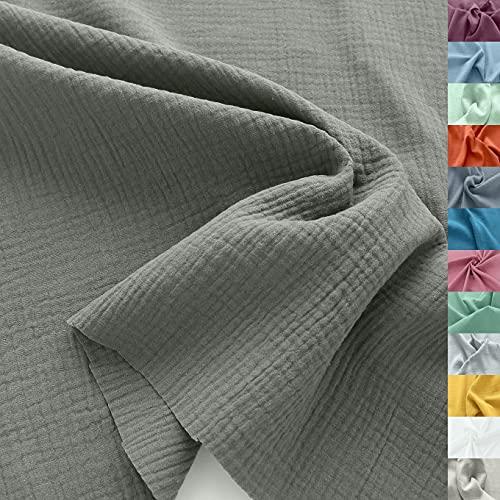 TOLKO Musselin Stoff Meterware | Baby weicher ÖkoTex Baumwollstoff | Kleid Bluse Tuch Decke Tagesdecke Bettwäsche | Double Gauze 130cm breit Nähstoffe Baumwollstoffe uni Dekostoff 50cm (Taupe)