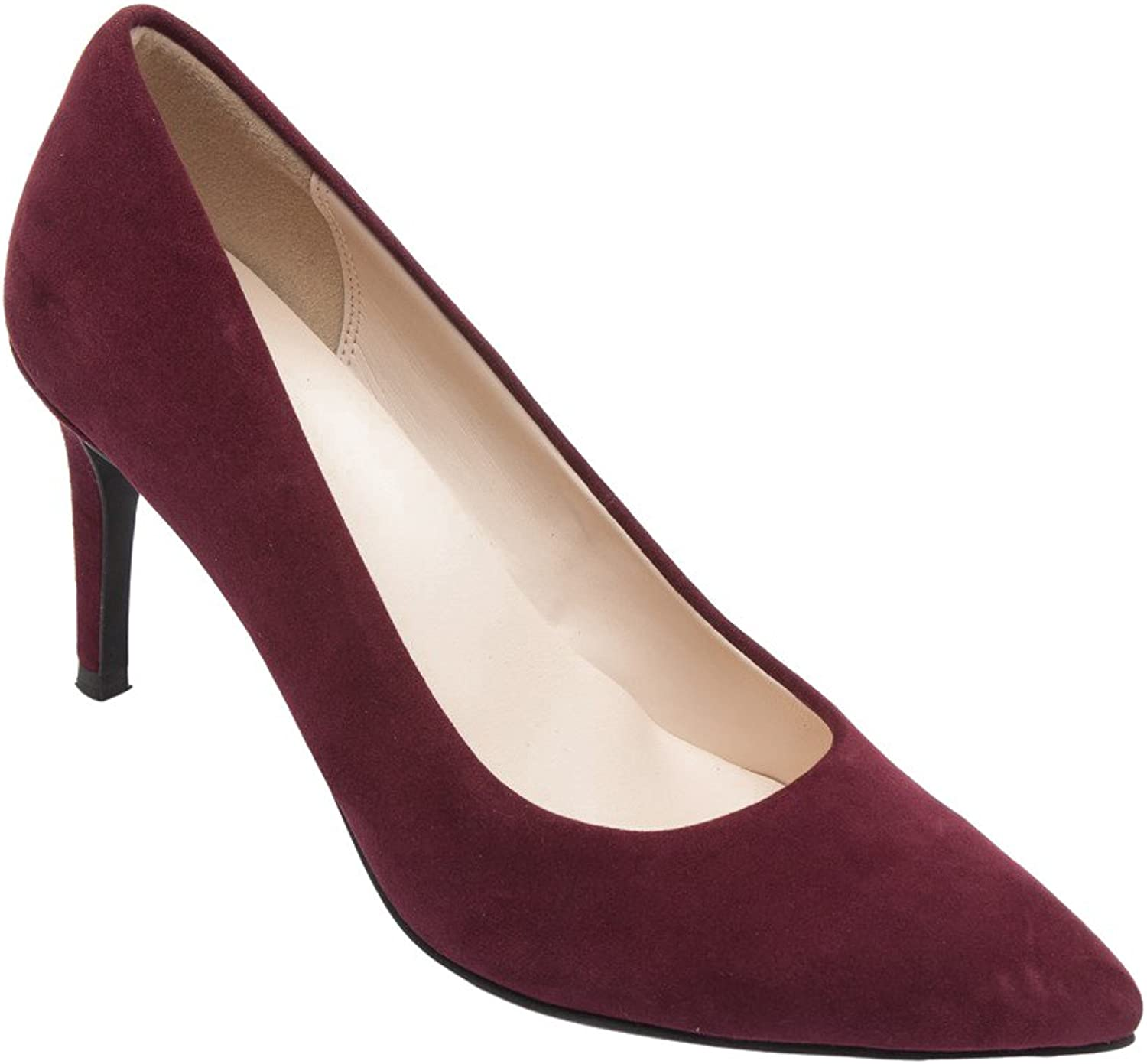 PIC PAY Lucia - Women's Pointy Toe Pumps - Elegant Suede Leather Stiletto High Heel shoes Plum Suede 7M