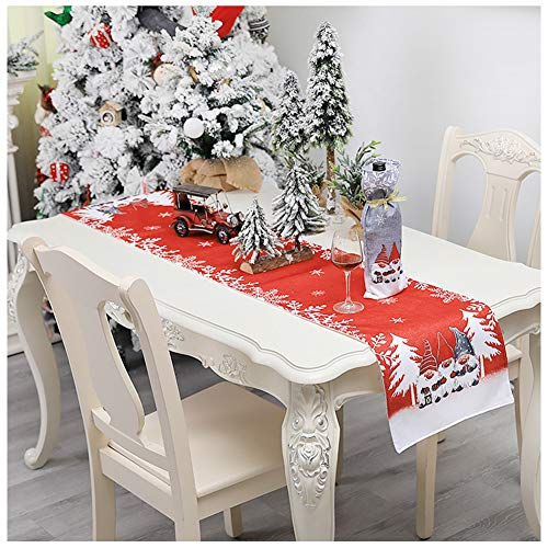 100% Cotton Table Linens for Family Dinner Gathering Home Decorations Christmas Cartoon Decorations,Red