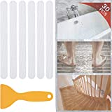 V-TOP 30 PCS Non Slip Bathtub Stickers, Safety Anti Slip Shower Adhesive Strips Treads for Bathroom Floor Tub Stairs Ladders Pools Boats, Bath Tub Appliques for Adults & Kids with Scraper