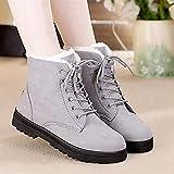 Botas para Mujer Botas de Nieve cálidas de Invierno Botas de Cuero de Terciopelo para Mujer Mujeres de Invierno Zapatos de Felpa (Color : WSH2461 Gray, Shoe Size : 4.5m)