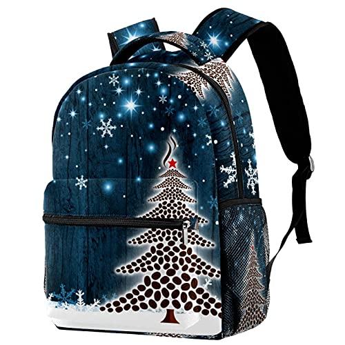 RuppertTextile Zaino per ragazze e ragazzi Bookbag Multiuso Daypack Borsa da viaggio all'aperto Chicchi di caffè dell'albero di Natale con tasca taglia Size