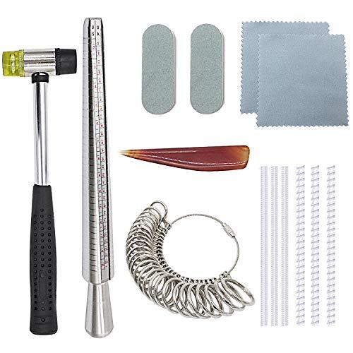 Niupika Ringmaß-Dorn-Set zur Schmuckherstellung inklusive Juwelier-Gummihammer, Fingermaß Größenangabe in UK und USA-Maßen, Ringdorn, Poliertuch, Achat-Polierer